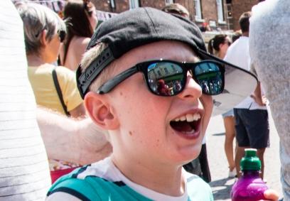 Boy glasses reflection