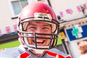 Parade American footballer close up cu